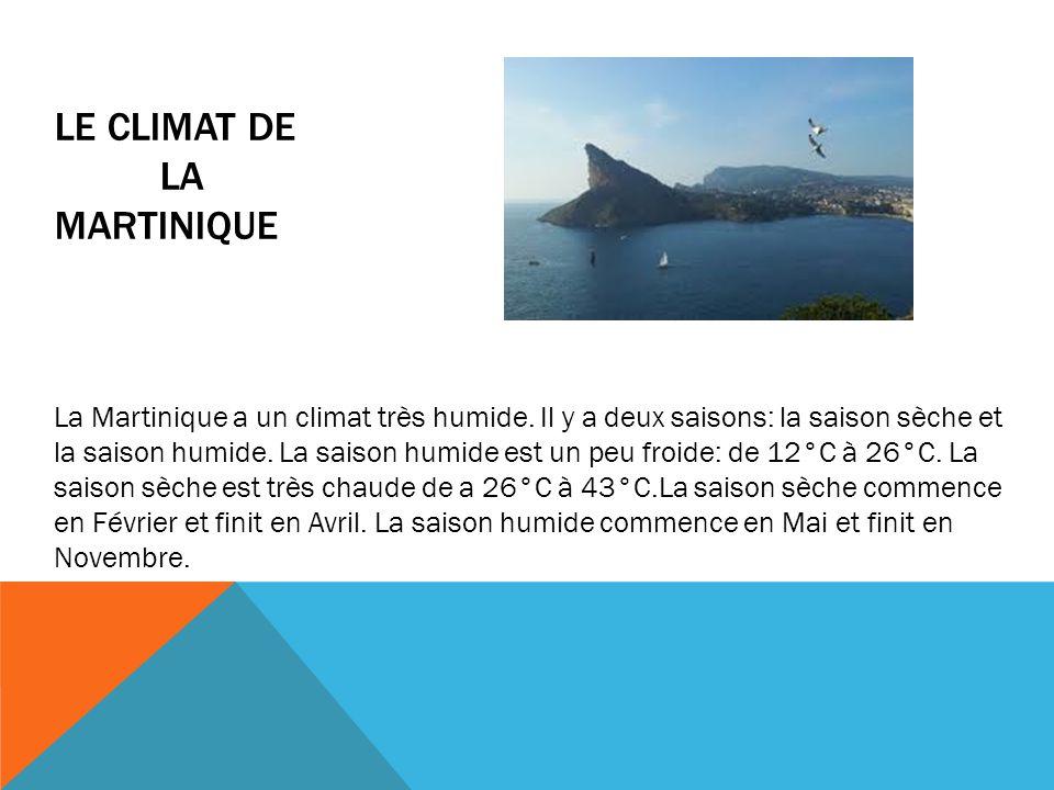 LE CLIMAT DE LA MARTINIQUE La Martinique a un climat très humide. Il y a deux saisons: la saison sèche et la saison humide. La saison humide est un pe