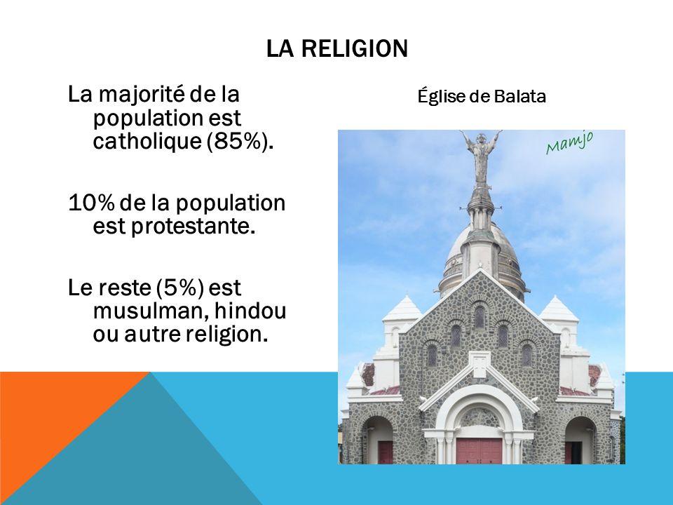 La majorité de la population est catholique (85%). 10% de la population est protestante. Le reste (5%) est musulman, hindou ou autre religion. LA RELI