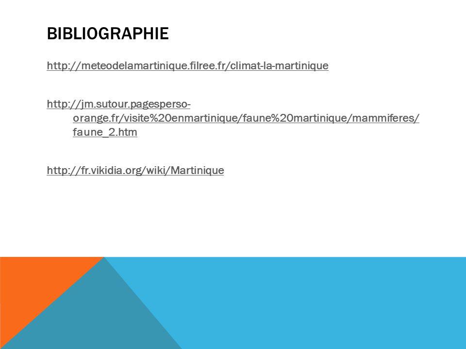 BIBLIOGRAPHIE http://meteodelamartinique.filree.fr/climat-la-martinique http://jm.sutour.pagesperso- orange.fr/visite%20enmartinique/faune%20martiniqu