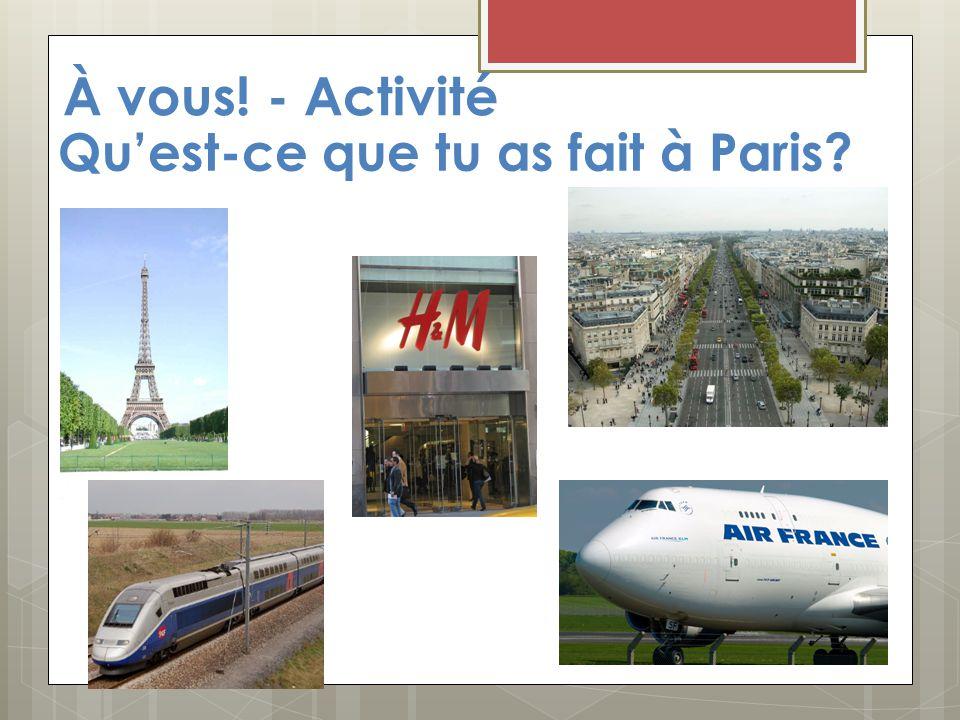 À vous! - Activité Qu'est-ce que tu as fait à Paris