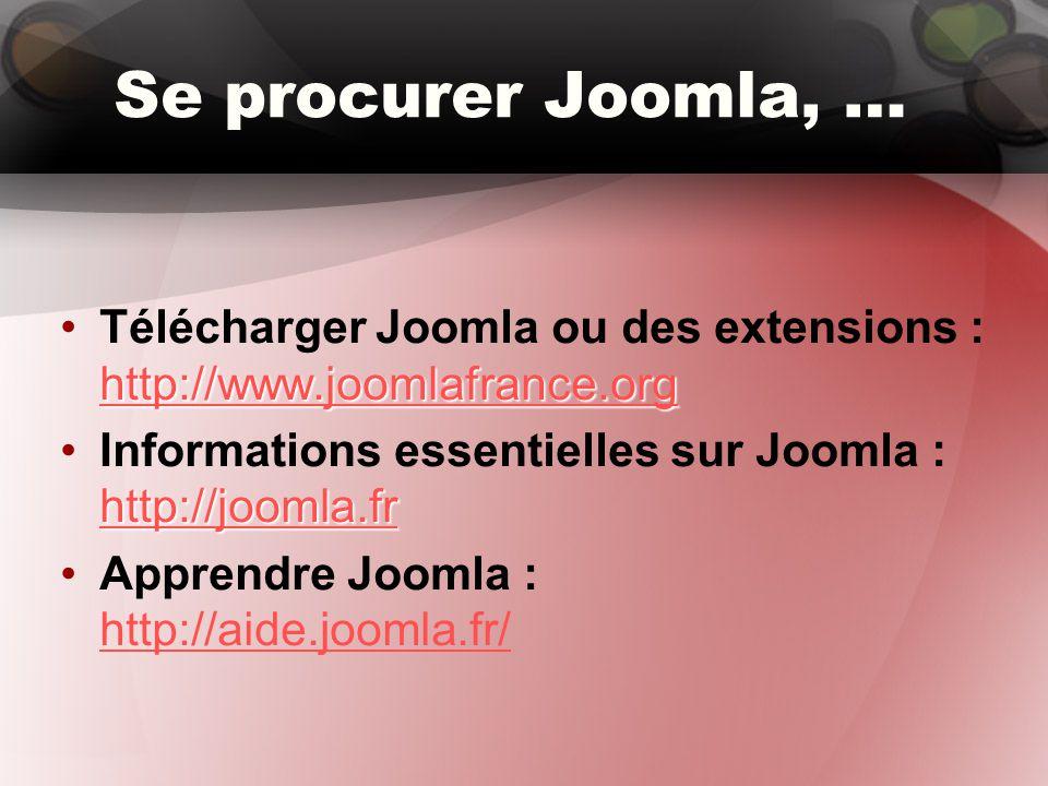 L'organisation du contenu dans Joomla Le contenu dans Joomla est organisé en sections et catégories.