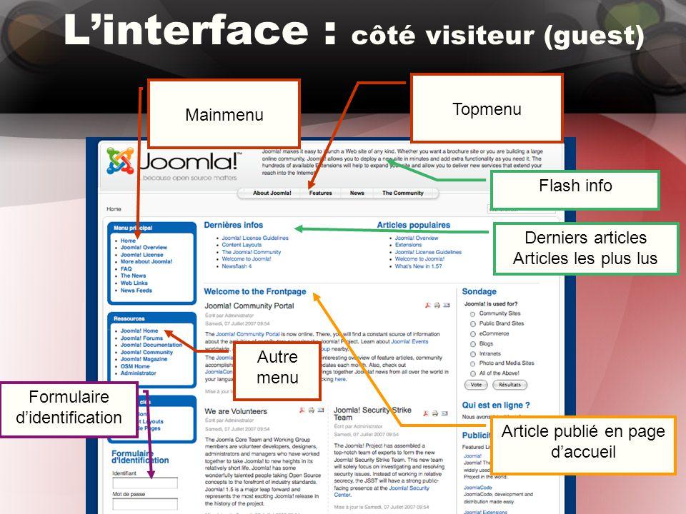 L'interface : côté visiteur (guest) Topmenu Mainmenu Autre menu Derniers articles Articles les plus lus Article publié en page d'accueil Flash info Formulaire d'identification