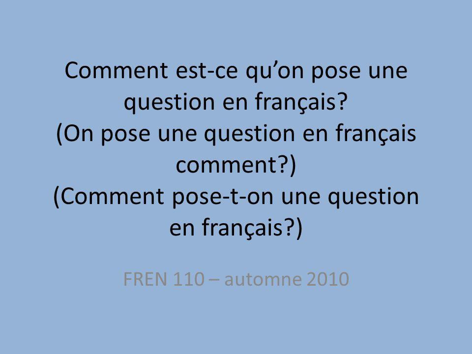 Comment est-ce qu'on pose une question en français.