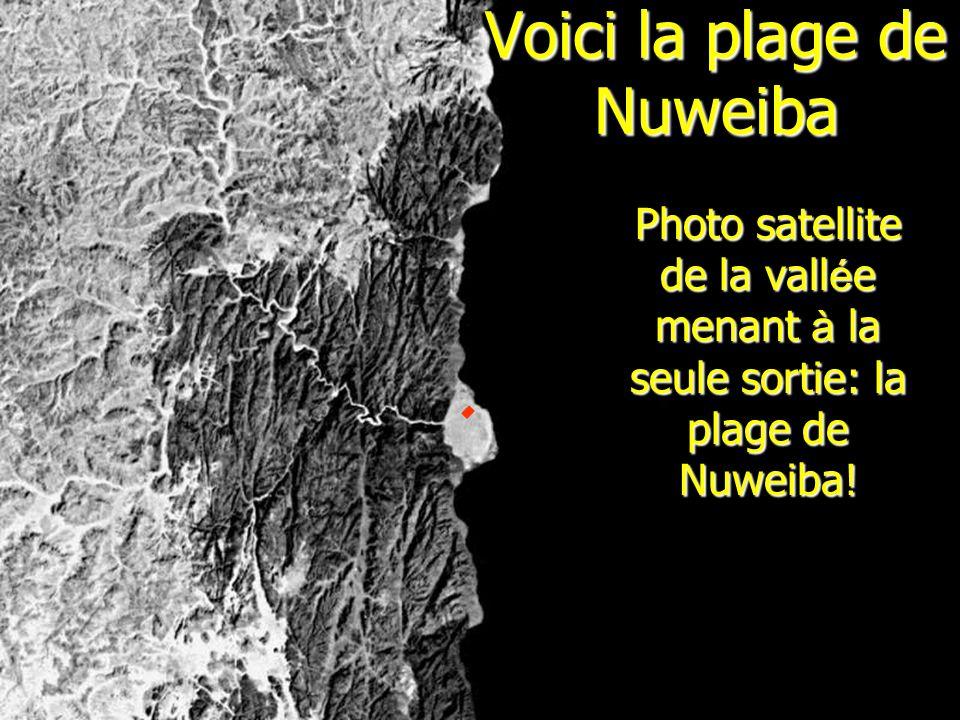 Voici la plage de Nuweiba Photo satellite de la vall é e menant à la seule sortie: la plage de Nuweiba!