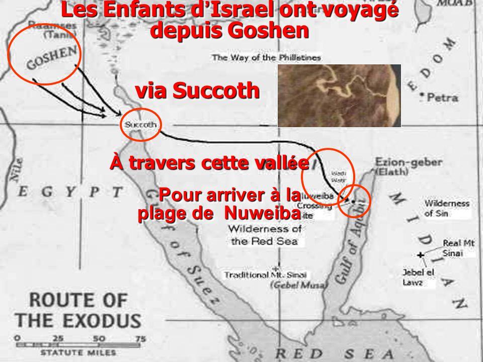 Les Enfants d ' Israel ont voyag é depuis Goshen Pour arriver à la plage de Nuweiba via Succoth À travers cette vall é e