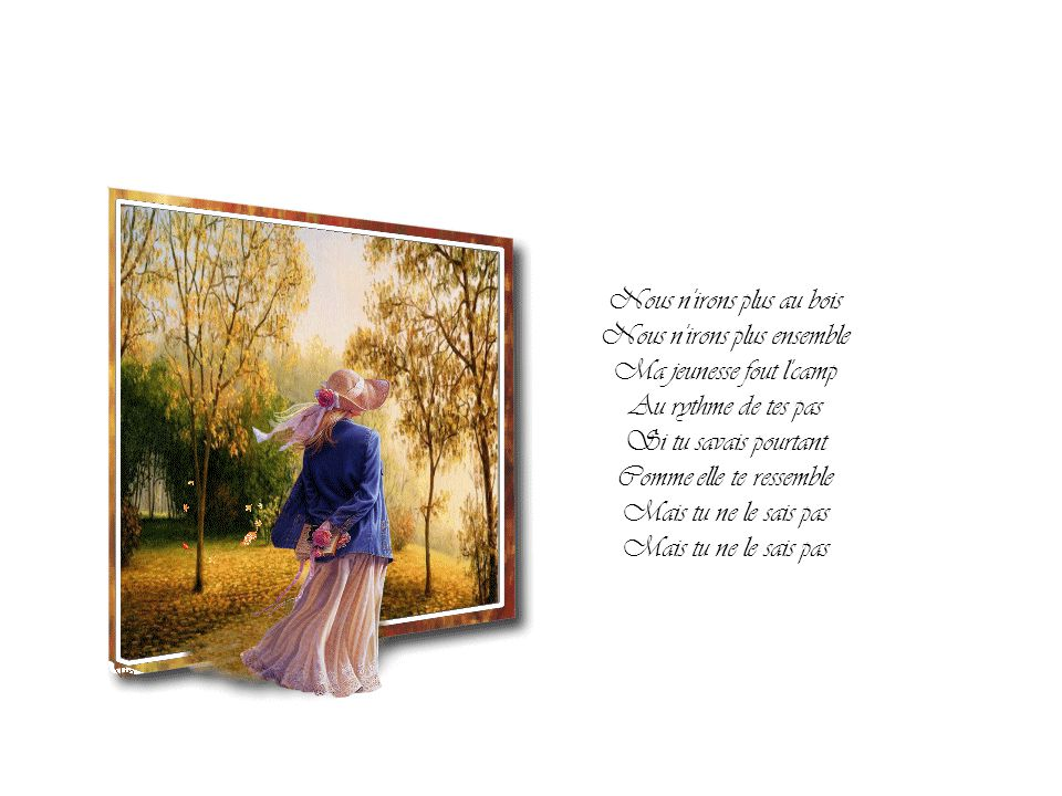 Nous n'irons plus au bois Voici venir l'automne J'attendrai le printemps En effeuillant l'ennui Il ne reviendra plus Et si mon cœur frissonne C'est qu