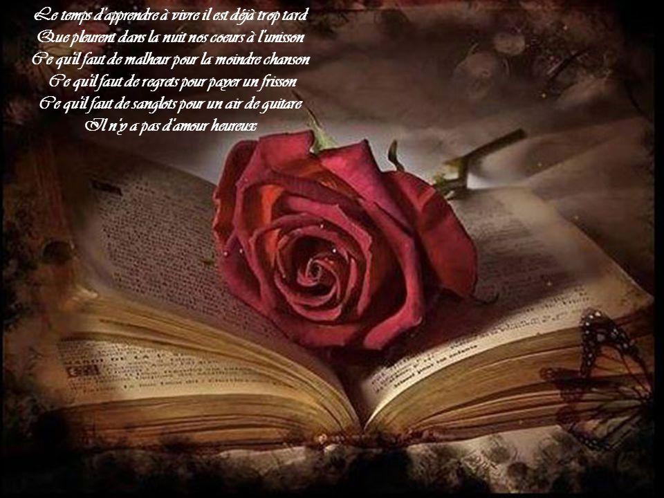 Mon bel amour, mon cher amour, ma déchirure Je te porte dans moi comme un oiseau blessé Et ceux-là sans savoir nous regardent passer Répétant après mo
