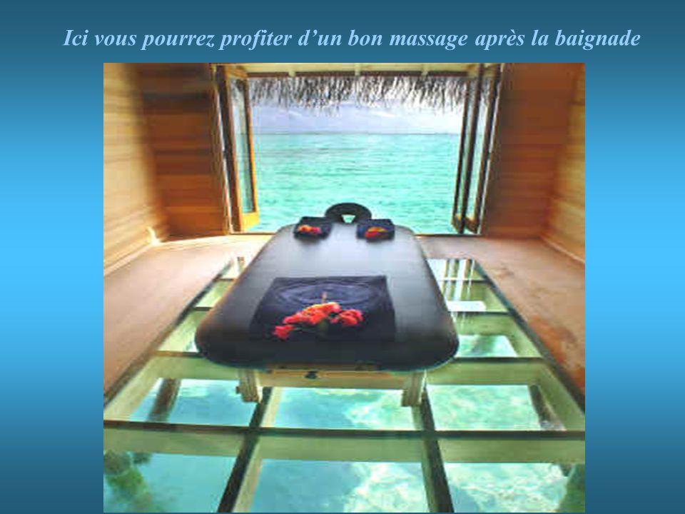 Ici vous pourrez profiter d'un bon massage après la baignade