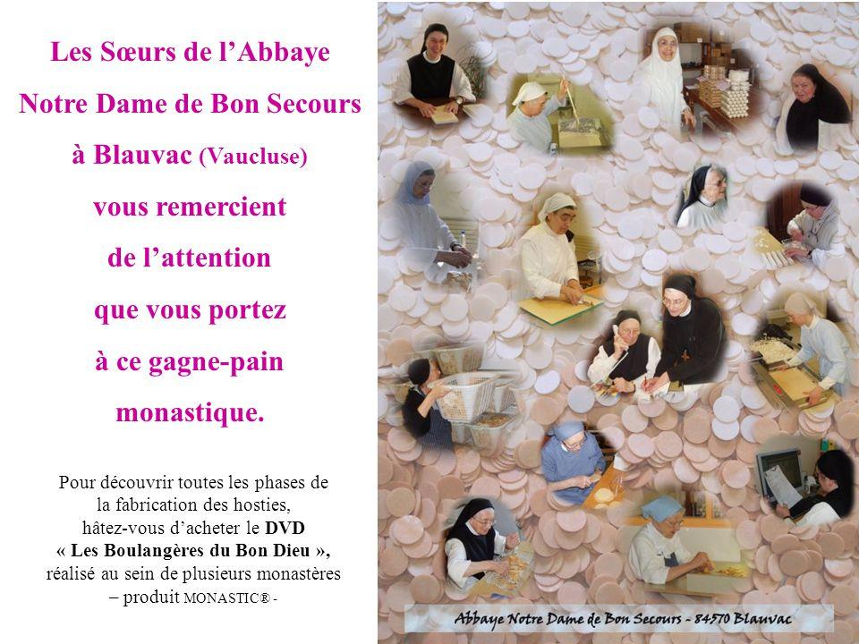 Les Sœurs de l'Abbaye Notre Dame de Bon Secours à Blauvac (Vaucluse) vous remercient de l'attention que vous portez à ce gagne-pain monastique. Pour d