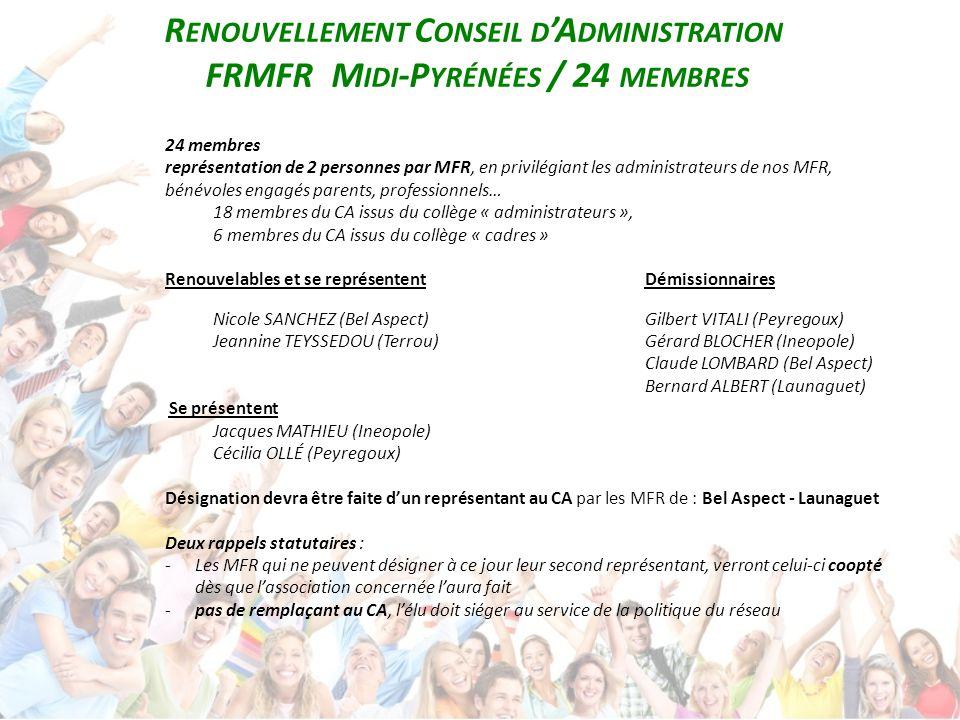 R ENOUVELLEMENT C ONSEIL D 'A DMINISTRATION FRMFR M IDI -P YRÉNÉES / 24 MEMBRES 24 membres représentation de 2 personnes par MFR, en privilégiant les