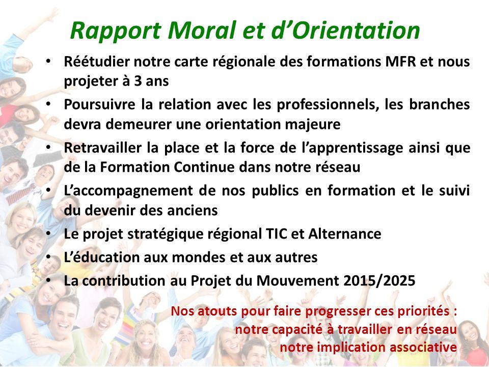 Rapport Moral et d'Orientation Réétudier notre carte régionale des formations MFR et nous projeter à 3 ans Poursuivre la relation avec les professionn