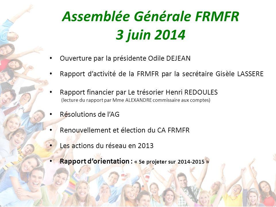 Ouverture par la présidente Odile DEJEAN Rapport d'activité de la FRMFR par la secrétaire Gisèle LASSERE Rapport financier par Le trésorier Henri REDO