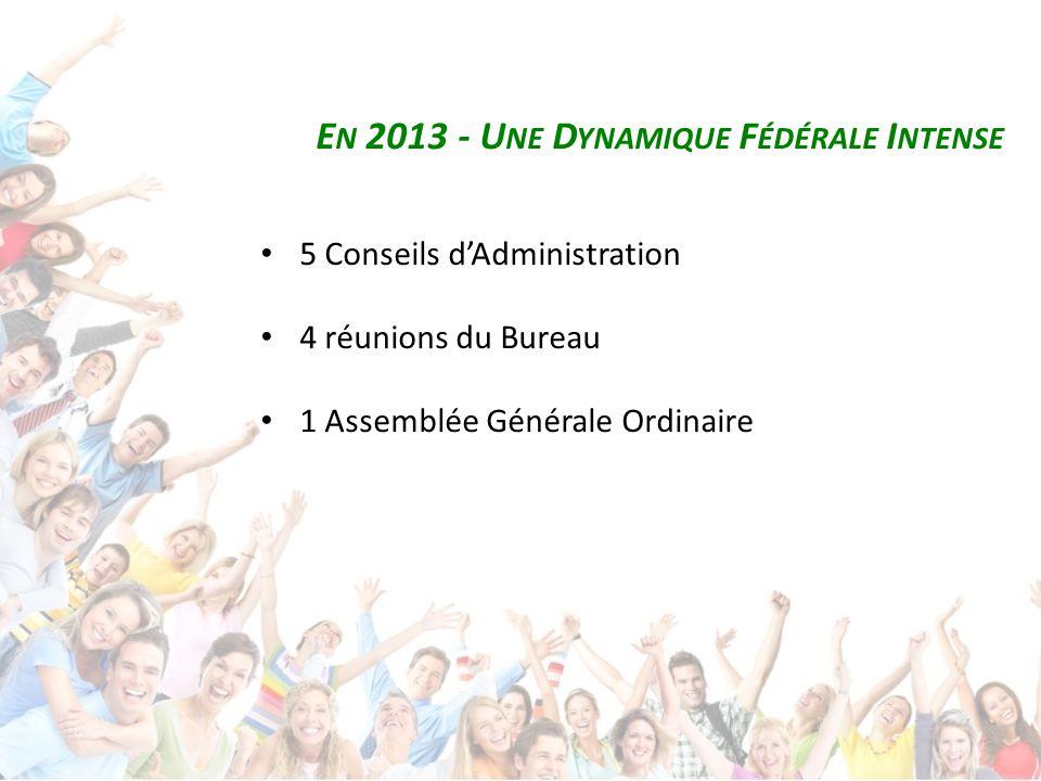 E N 2013 - U NE D YNAMIQUE F ÉDÉRALE I NTENSE 5 Conseils d'Administration 4 réunions du Bureau 1 Assemblée Générale Ordinaire