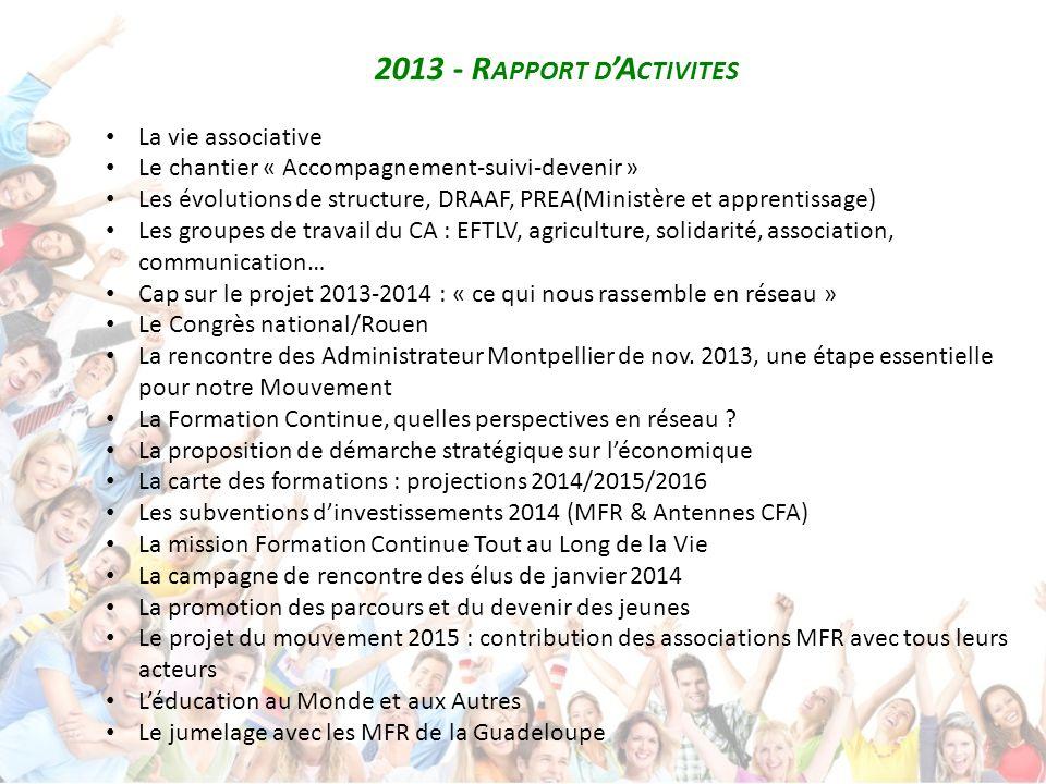 2013 - R APPORT D 'A CTIVITES La vie associative Le chantier « Accompagnement-suivi-devenir » Les évolutions de structure, DRAAF, PREA(Ministère et ap
