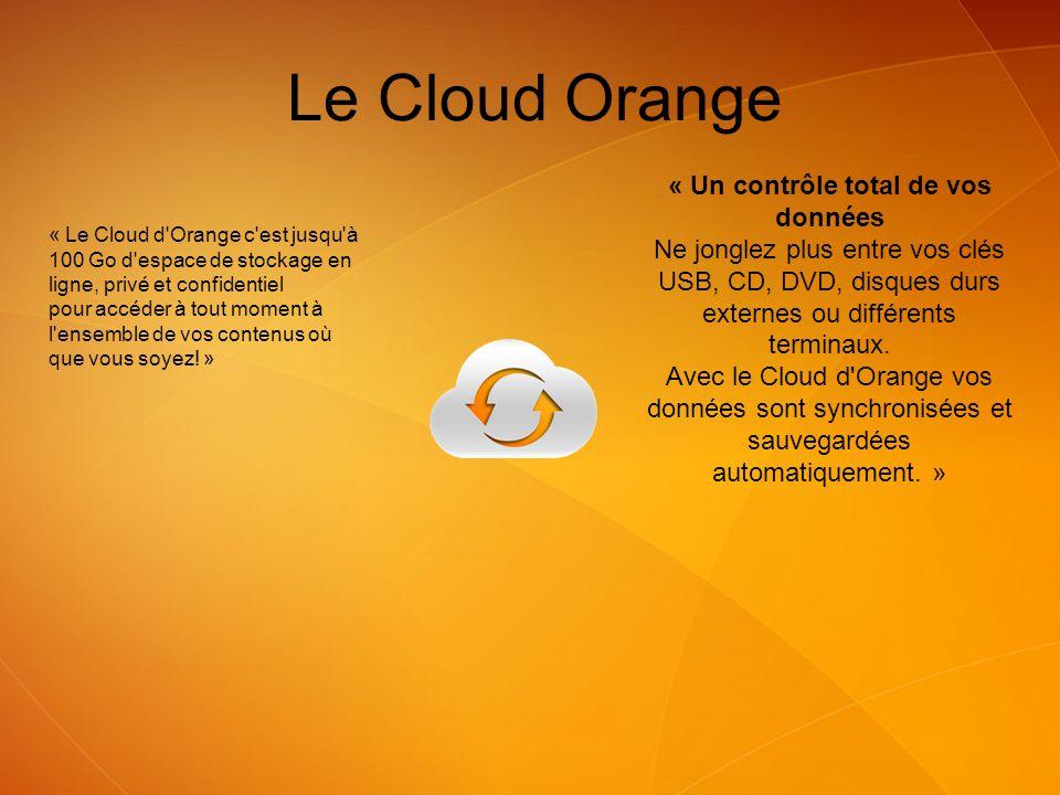 Le Cloud Orange « Le Cloud d'Orange c'est jusqu'à 100 Go d'espace de stockage en ligne, privé et confidentiel pour accéder à tout moment à l'ensemble