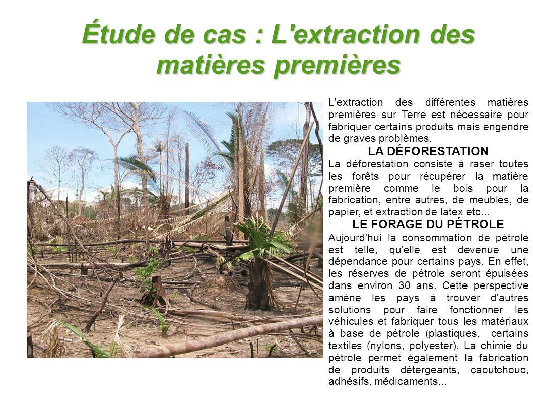 Étude de cas : L'extraction des matières premières L'extraction des différentes matières premières sur Terre est nécessaire pour fabriquer certains pr