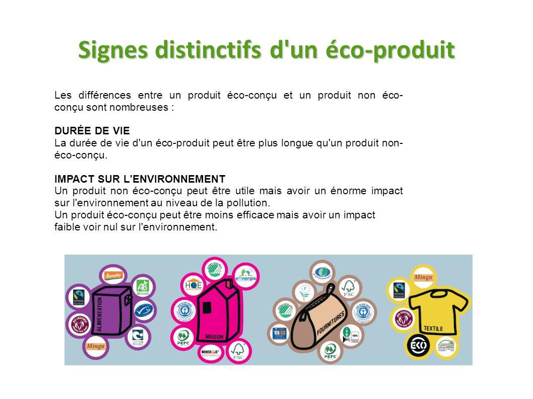 Signes distinctifs d'un éco-produit Les différences entre un produit éco-conçu et un produit non éco- conçu sont nombreuses : DURÉE DE VIE La durée de