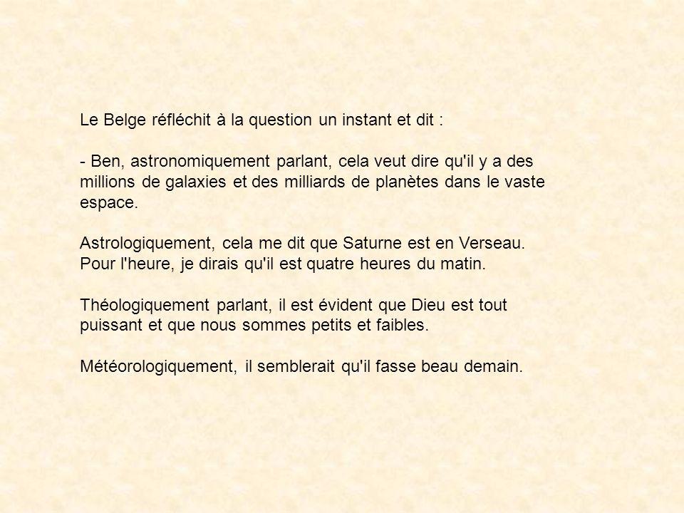 Après s être fait dévisager par l autre Belge pendant quelques minutes, il reprend : - Quoi, qu est-ce que j ai dit de mal .
