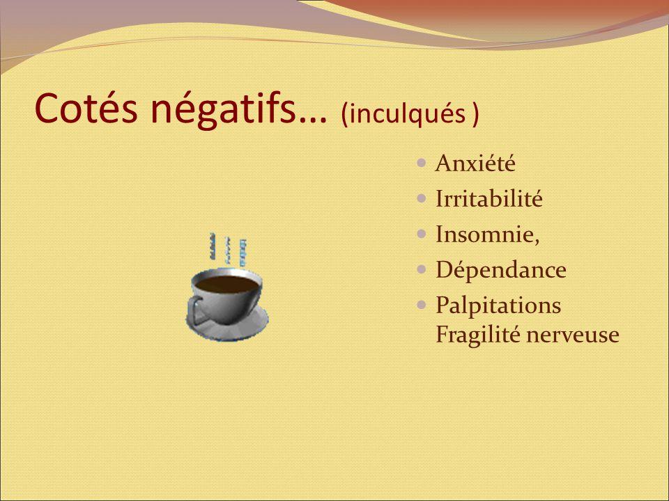 Cotés négatifs… (inculqués ) Anxiété Irritabilité Insomnie, Dépendance Palpitations Fragilité nerveuse