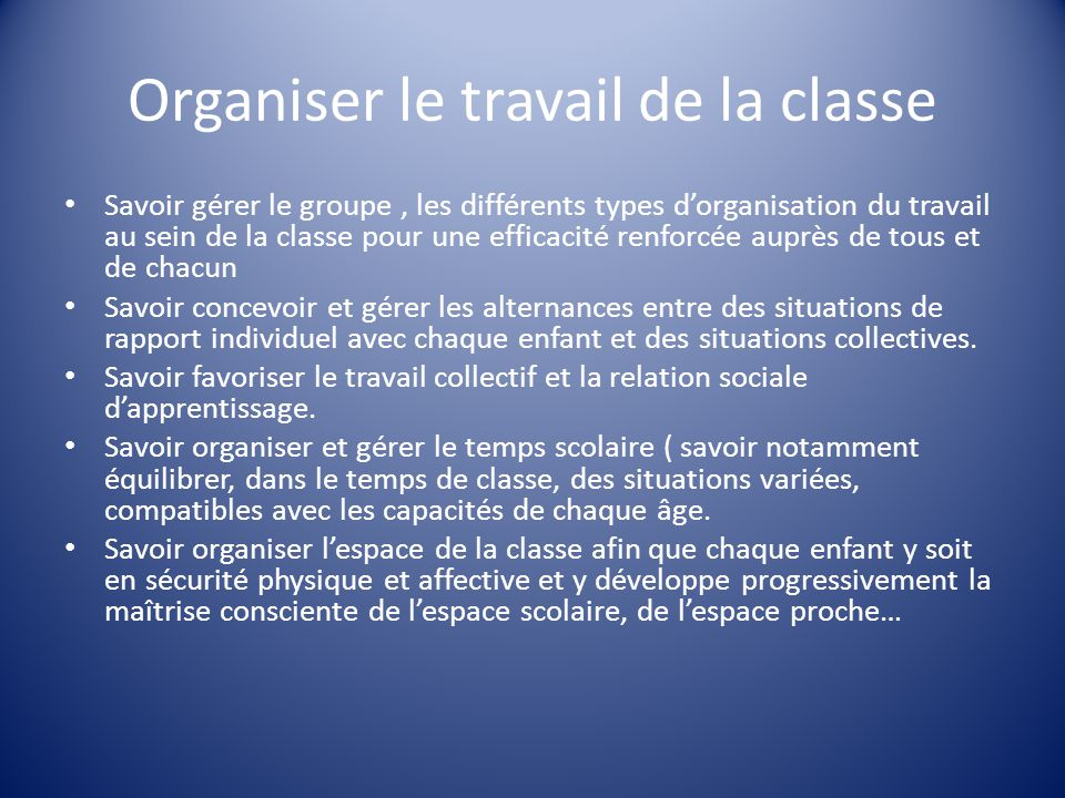 Organiser le travail de la classe Savoir gérer le groupe, les différents types d'organisation du travail au sein de la classe pour une efficacité renf