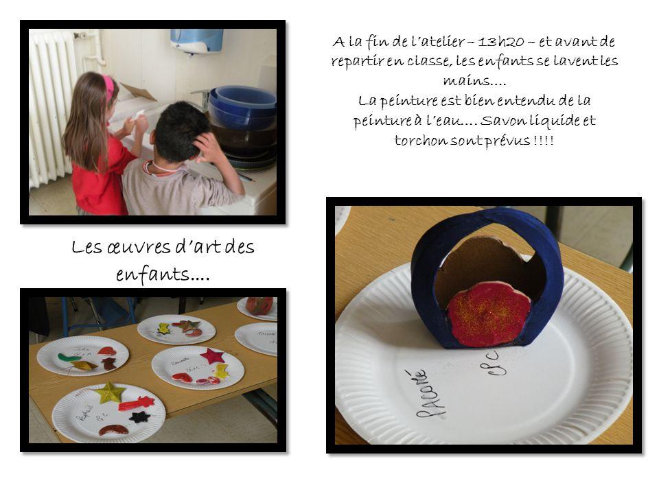 A la fin de l'atelier – 13h20 – et avant de repartir en classe, les enfants se lavent les mains…. La peinture est bien entendu de la peinture à l'eau…