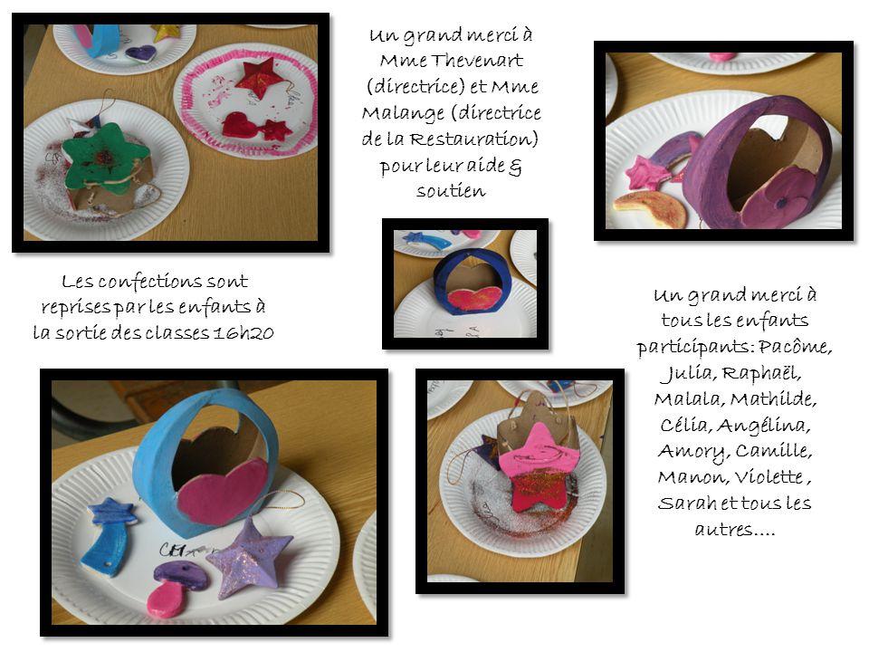 Les confections sont reprises par les enfants à la sortie des classes 16h20 Un grand merci à tous les enfants participants: Pacôme, Julia, Raphaël, Ma
