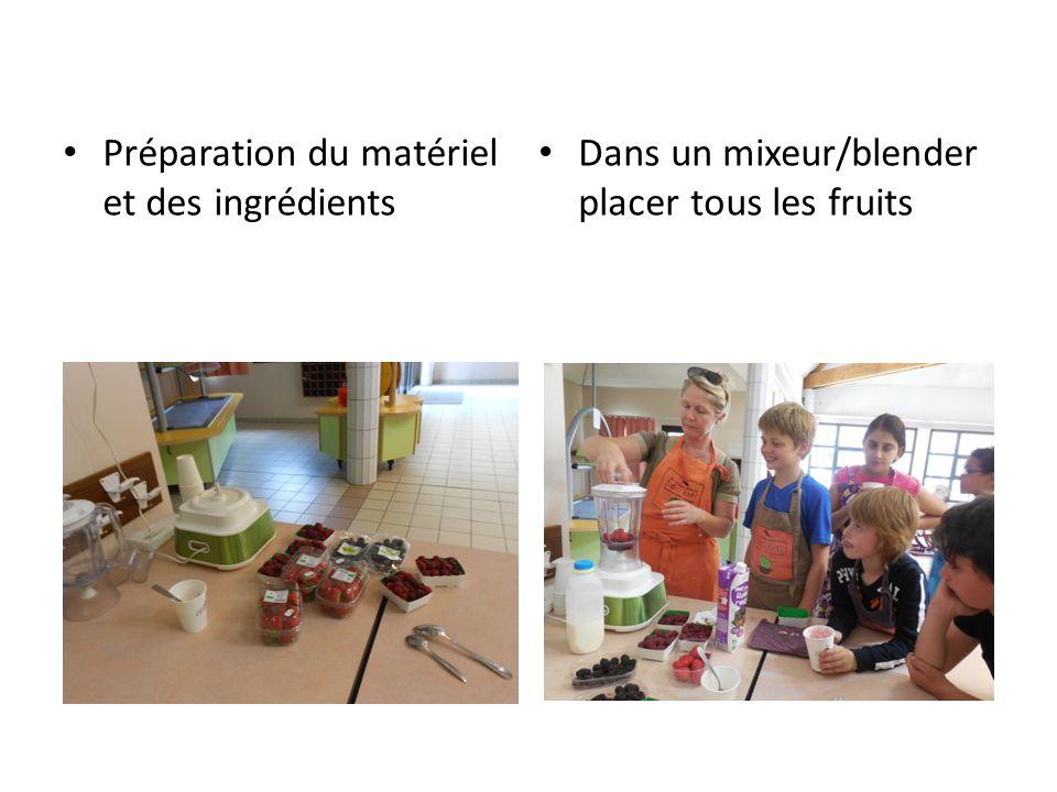 Préparation du matériel et des ingrédients Dans un mixeur/blender placer tous les fruits