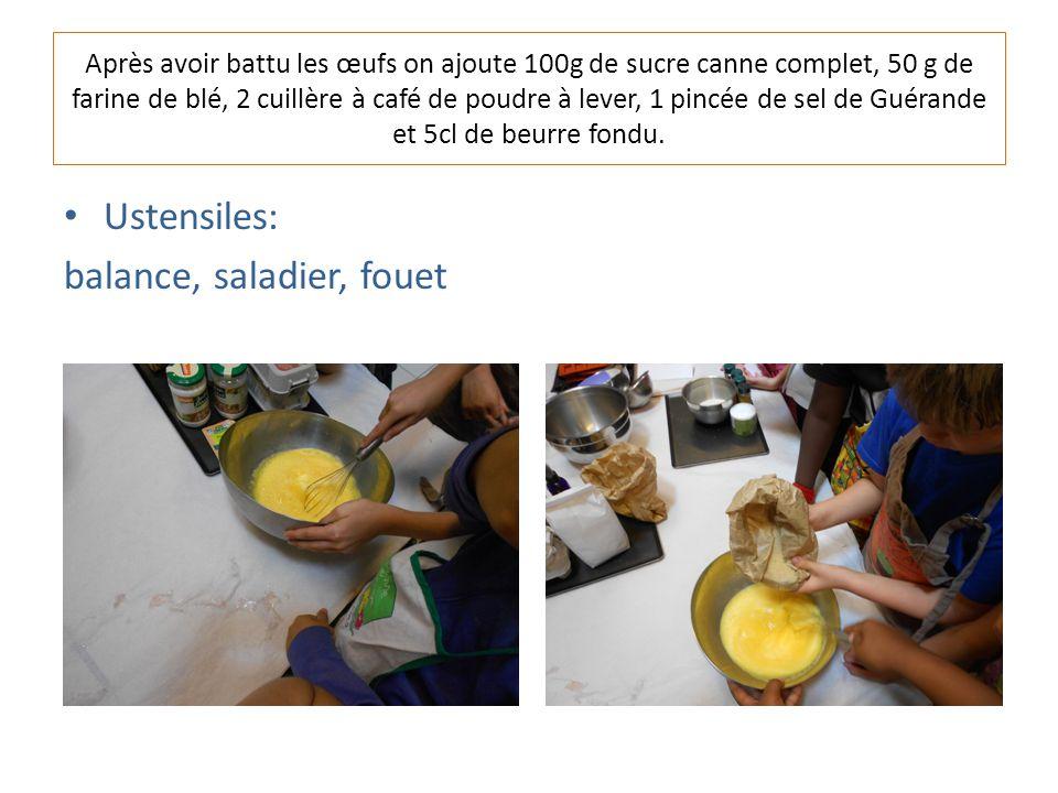 Après avoir battu les œufs on ajoute 100g de sucre canne complet, 50 g de farine de blé, 2 cuillère à café de poudre à lever, 1 pincée de sel de Guérande et 5cl de beurre fondu.