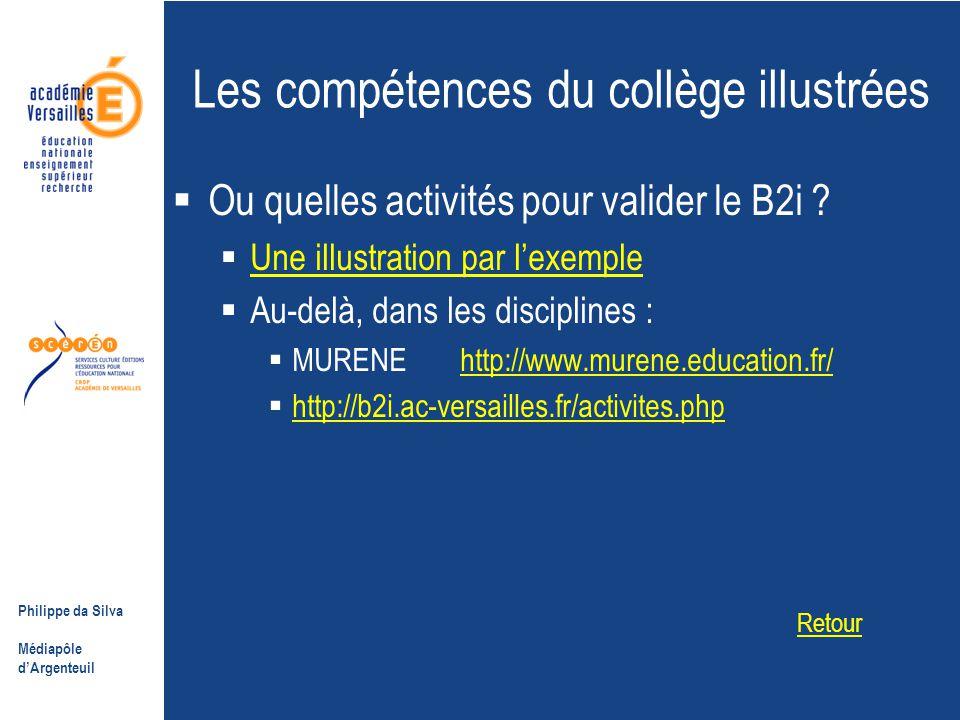 Philippe da Silva Médiapôle d'Argenteuil Les compétences du collège illustrées  Ou quelles activités pour valider le B2i .