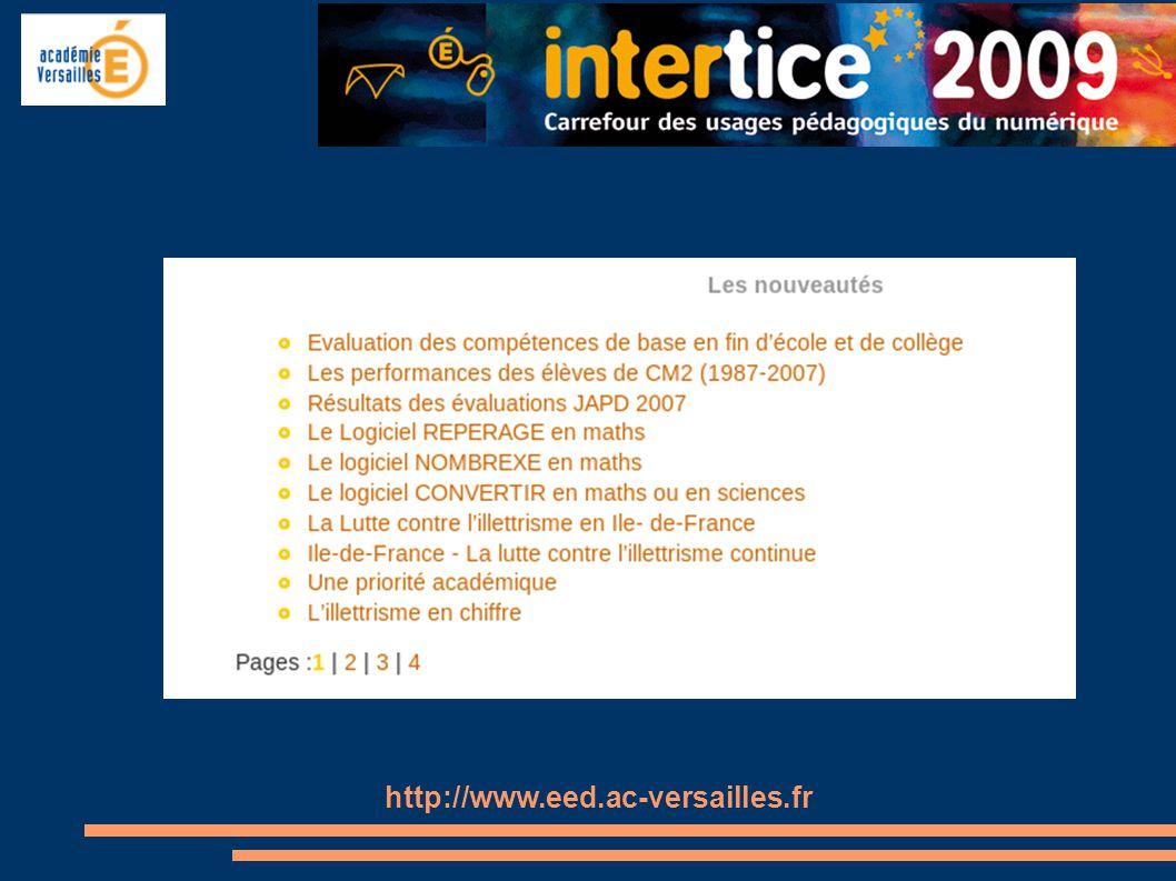 Actualités - des liens vers des articles - des propositions d action - des informations sur le site http://www.eed.ac-versailles.fr