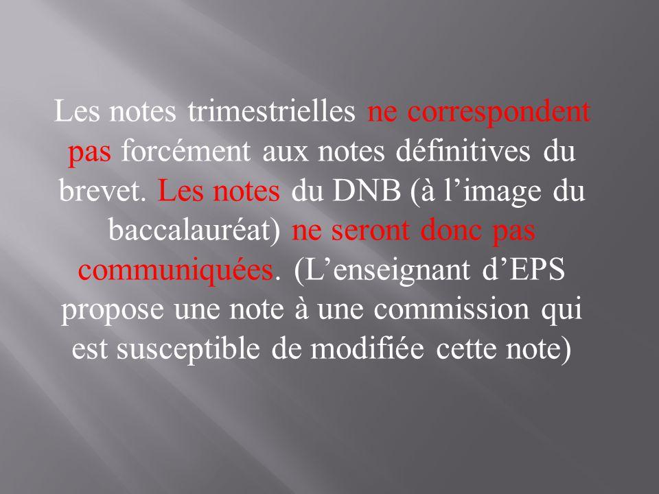 Les notes trimestrielles ne correspondent pas forcément aux notes définitives du brevet. Les notes du DNB (à l'image du baccalauréat) ne seront donc p