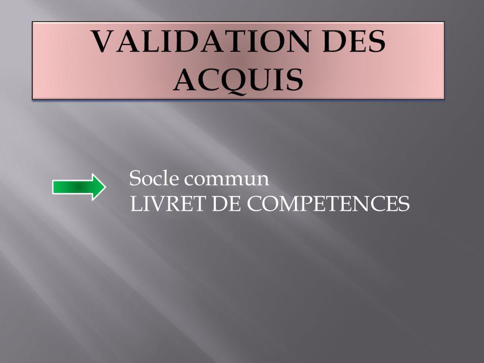 Socle commun LIVRET DE COMPETENCES