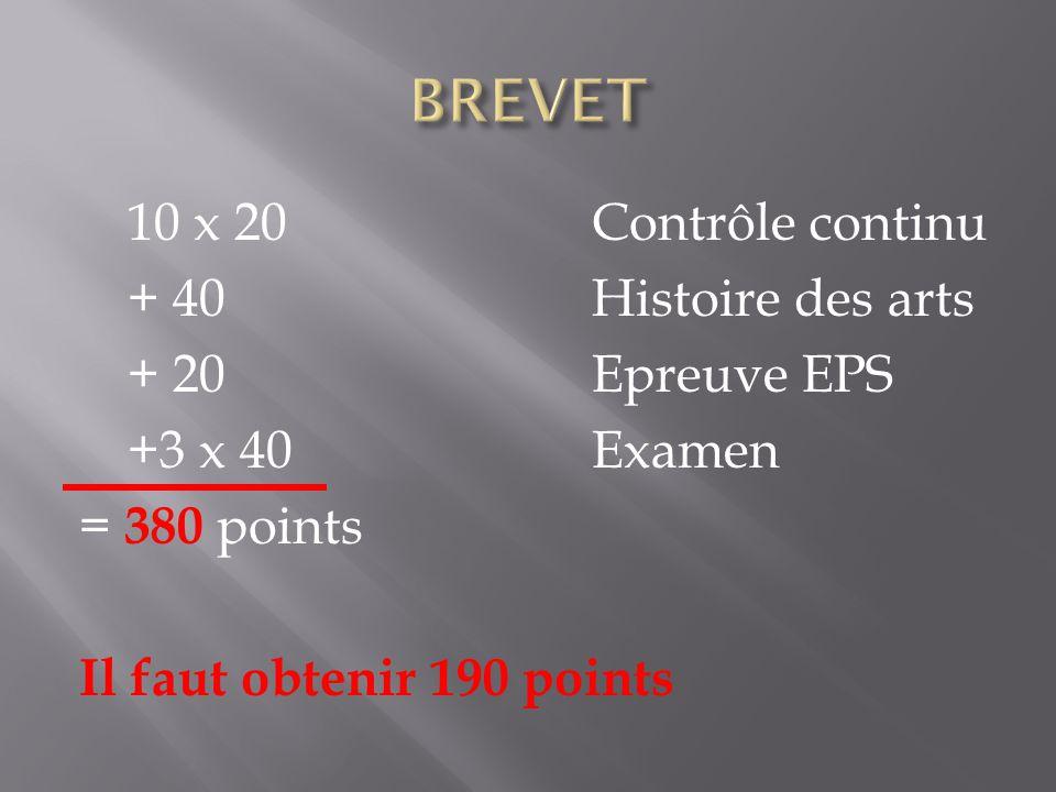 10 x 20Contrôle continu + 40Histoire des arts + 20Epreuve EPS +3 x 40 Examen = 380 points Il faut obtenir 190 points