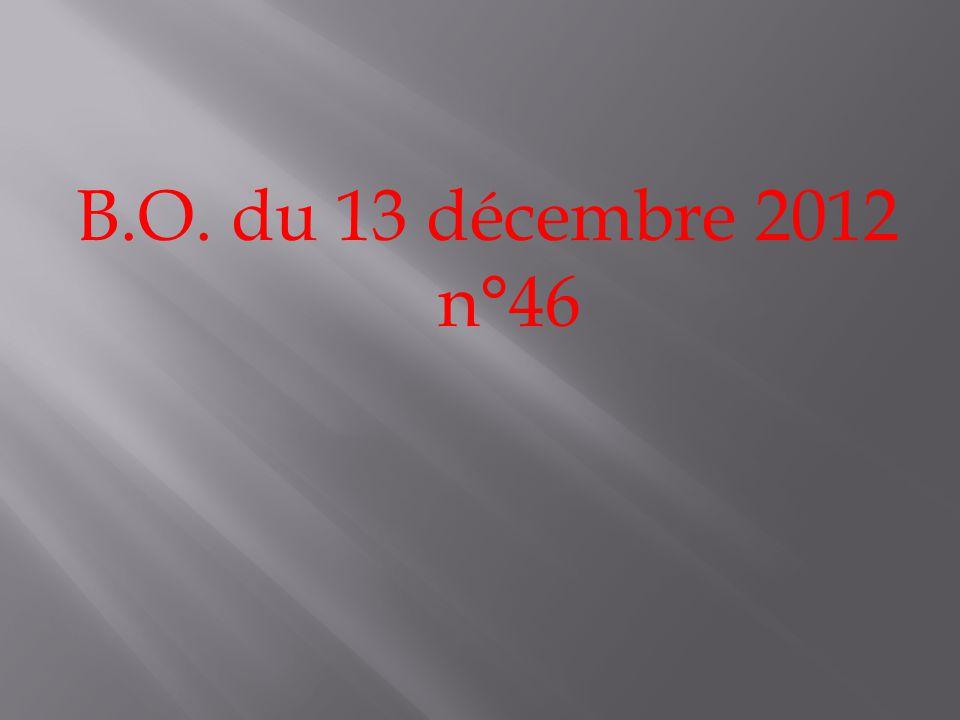 B.O. du 13 décembre 2012 n°46