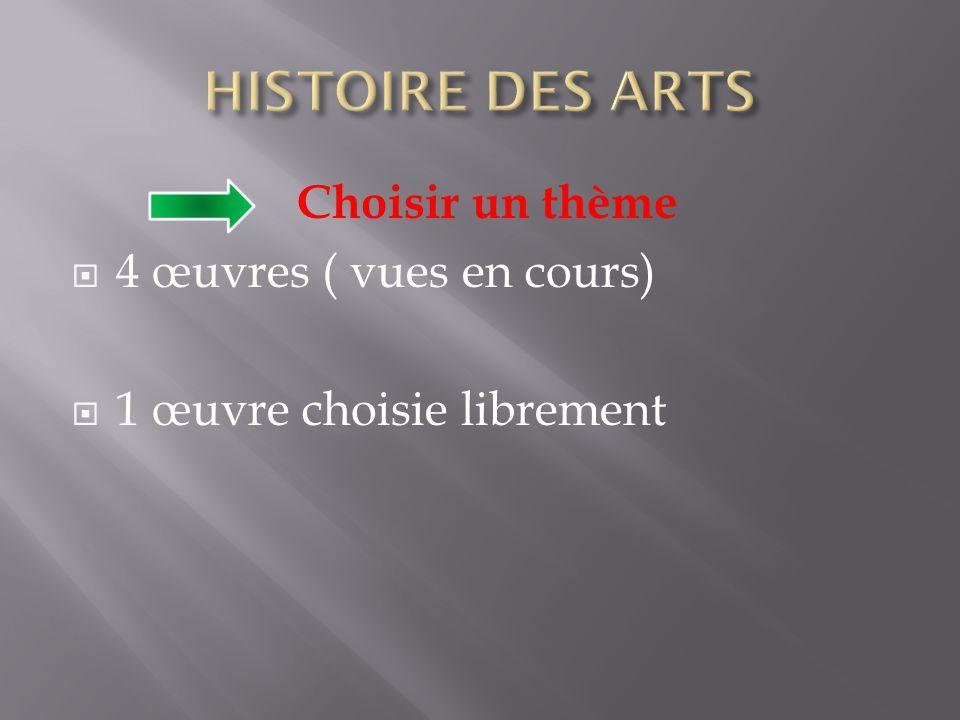 Choisir un thème  4 œuvres ( vues en cours)  1 œuvre choisie librement