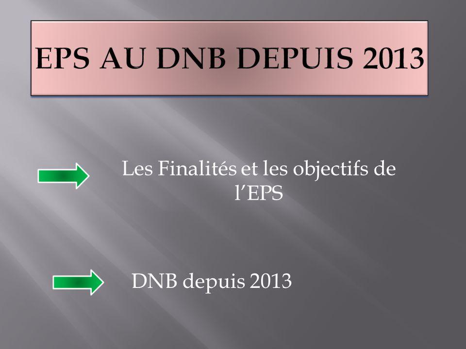 Les Finalités et les objectifs de l'EPS DNB depuis 2013