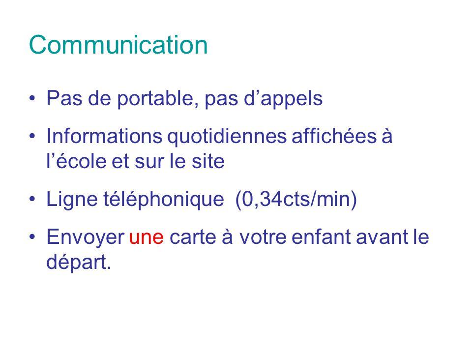 Communication Pas de portable, pas d'appels Informations quotidiennes affichées à l'école et sur le site Ligne téléphonique (0,34cts/min) Envoyer une