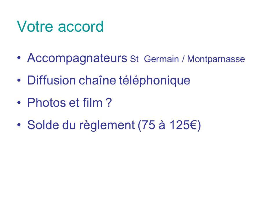 Votre accord Accompagnateurs St Germain / Montparnasse Diffusion chaîne téléphonique Photos et film ? Solde du règlement (75 à 125€)