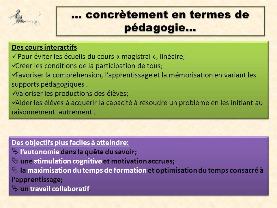 … concrètement en termes de pédagogie… Des cours interactifs Pour éviter les écueils du cours « magistral », linéaire; Créer les conditions de la part