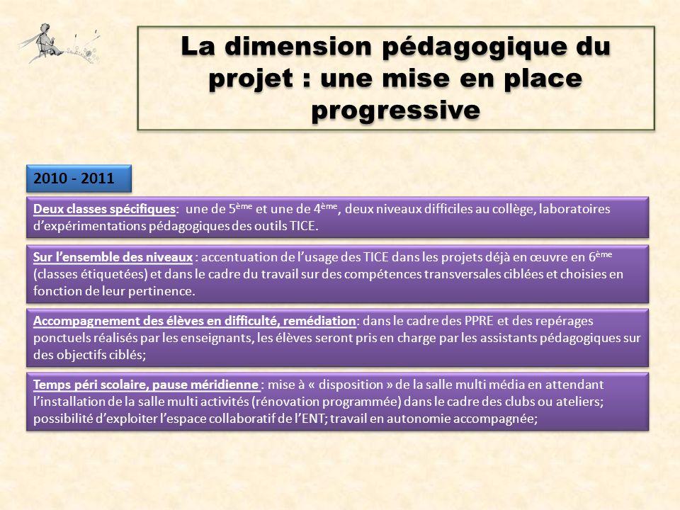 La dimension pédagogique du projet : une mise en place progressive Deux classes spécifiques: une de 5 ème et une de 4 ème, deux niveaux difficiles au