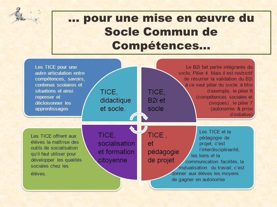 … pour une mise en œuvre du Socle Commun de Compétences… Les TICE pour une autre articulation entre compétences, savoirs, contenus scolaires et situat