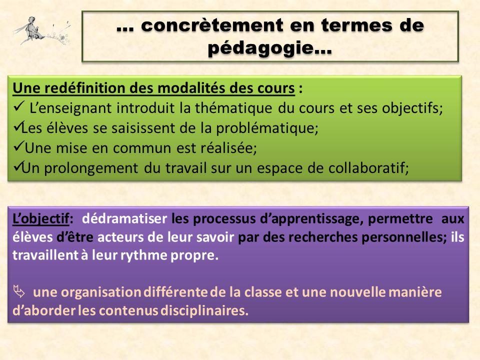 … concrètement en termes de pédagogie… L'objectif: dédramatiser les processus d'apprentissage, permettre aux élèves d'être acteurs de leur savoir par