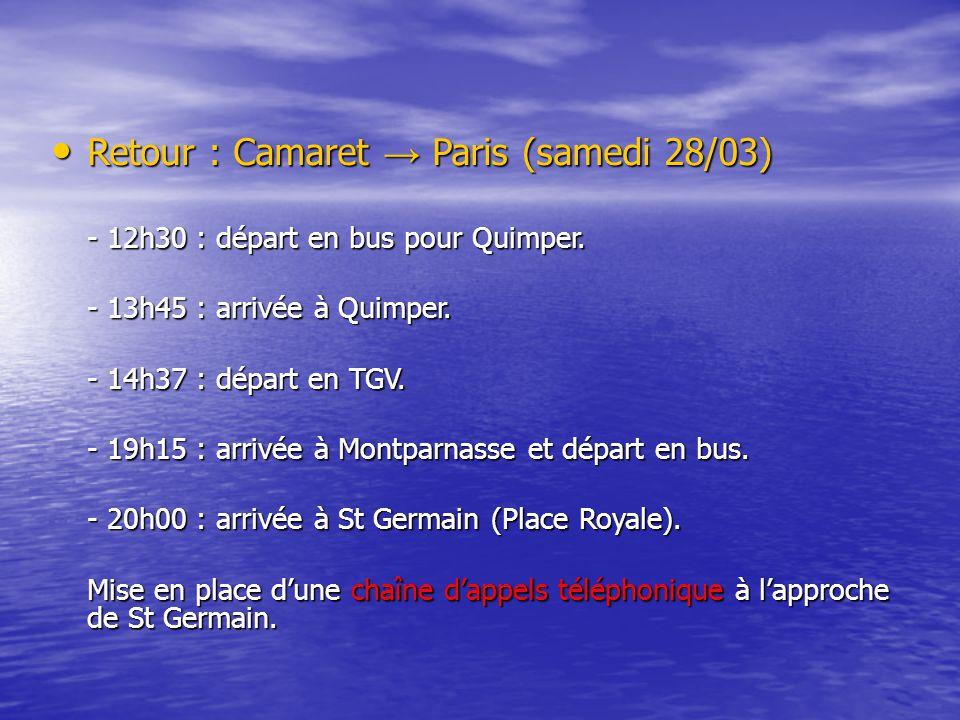 Retour : Camaret → Paris (samedi 28/03) Retour : Camaret → Paris (samedi 28/03) - 12h30 : départ en bus pour Quimper.