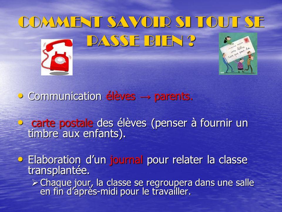 COMMENT SAVOIR SI TOUT SE PASSE BIEN .Communication élèves → parents.
