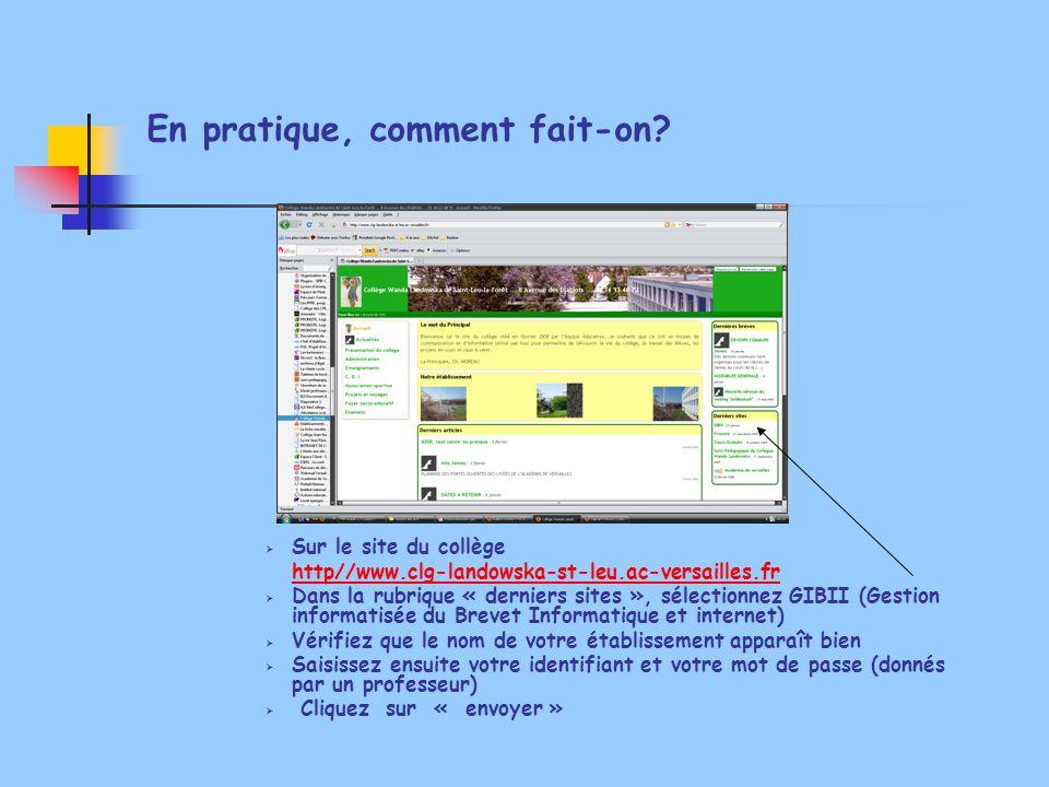 En pratique, comment fait-on?  Sur le site du collège http//www.clg-landowska-st-leu.ac-versailles.fr  Dans la rubrique « derniers sites », sélectio