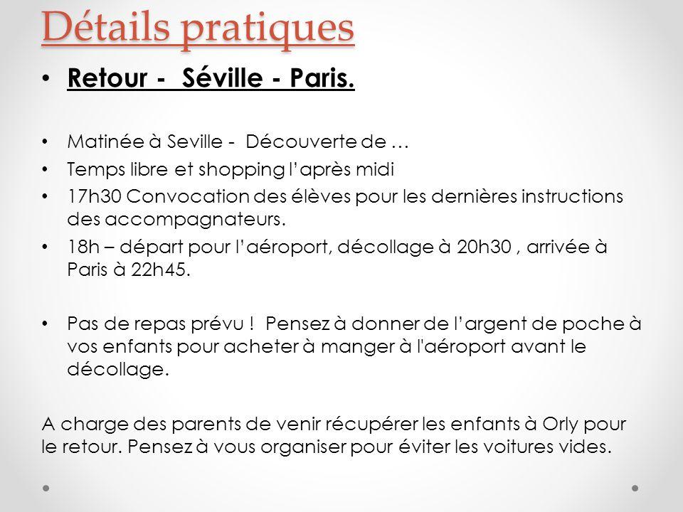 Retour - Séville - Paris.