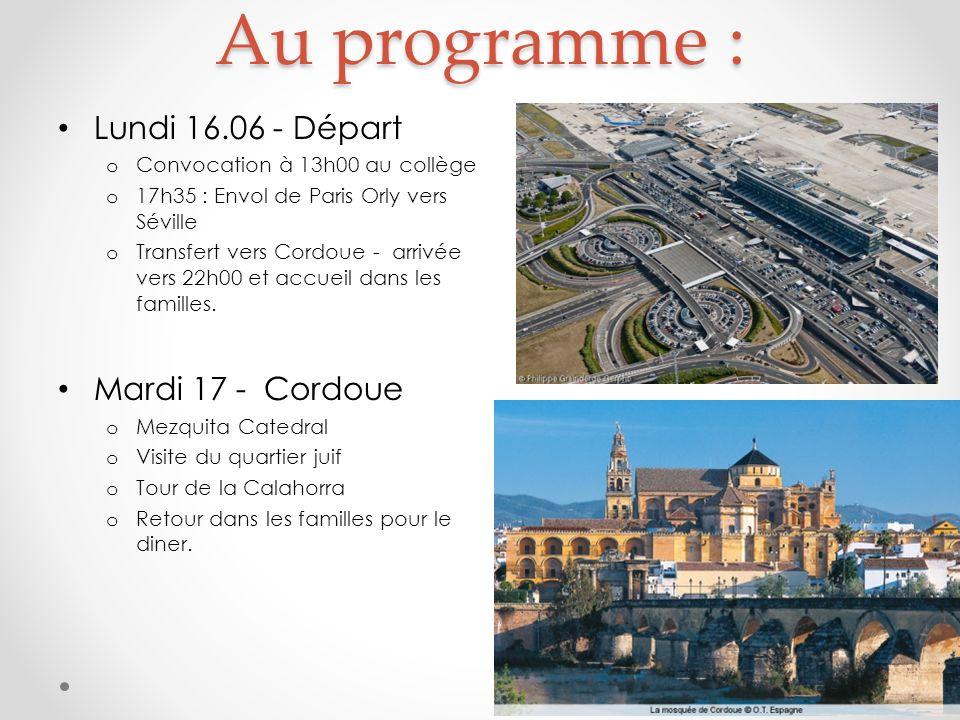 Au programme : Lundi 16.06 - Départ o Convocation à 13h00 au collège o 17h35 : Envol de Paris Orly vers Séville o Transfert vers Cordoue - arrivée vers 22h00 et accueil dans les familles.