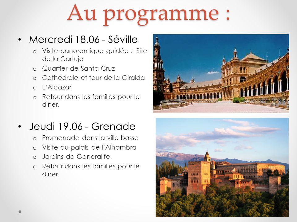 Au programme : Mercredi 18.06 - Séville o Visite panoramique guidée : Site de la Cartuja o Quartier de Santa Cruz o Cathédrale et tour de la Giralda o L'Alcazar o Retour dans les familles pour le diner.