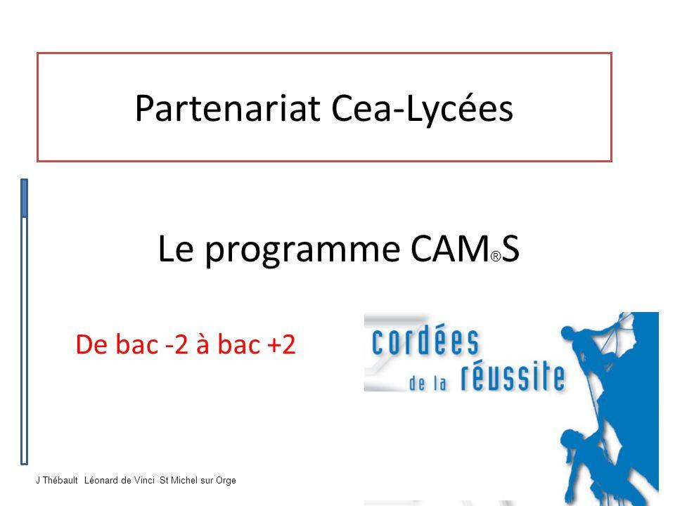 Partenariat Cea-Lycées De bac -2 à bac +2 Le programme CAM ® S J Thébault Léonard de Vinci St Michel sur Orge