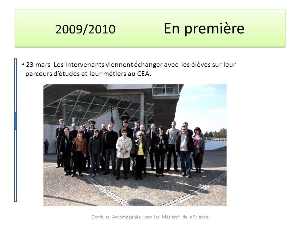 2009/2010 En première 23 mars Les intervenants viennent échanger avec les élèves sur leur parcours d'études et leur métiers au CEA.